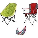 2パックのキャンプチェア、屋外ビーチ旅行コンサート折りたたみ椅子、ハンモック付き超軽量ポータブルサマーシート
