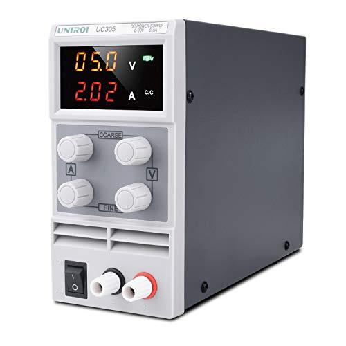 UNIROI 4点セット 可変直流安定化電源 スイッチング電源 0-30V/0-5A ワニ口クリップリード付き 自動温度制御冷却ファン 小型 低雑音 安全保護 直流電源装置 UC305