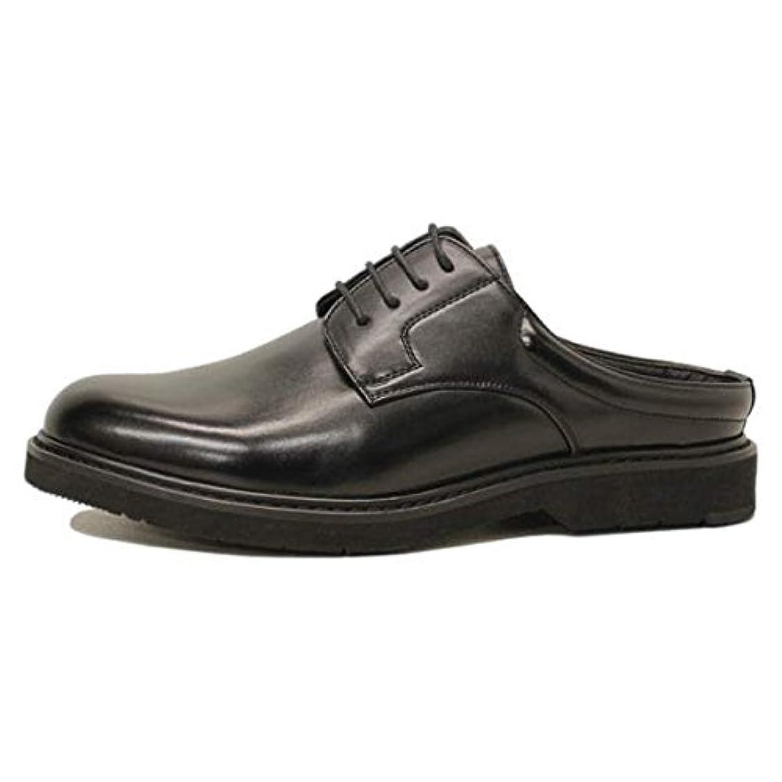 店員トロリーバス太鼓腹ビジネスサンダル スリッパ メンズ エアソール 革靴 プレーントゥ M300711-02