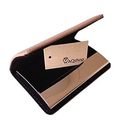 (エーキューショップ) AQshop 1秒開閉 ビジネス レザー 名刺入れ 牛革 カードケース メンズ レディース 男女兼用 AQshop Leather Craft (グレー)
