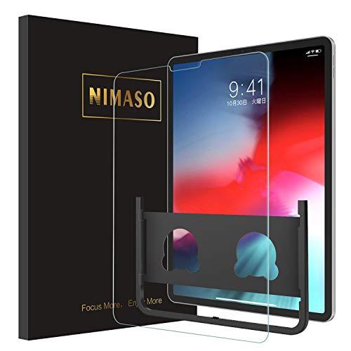 【ガイド枠付き】 Nimaso iPad Pro 11 インチ 用 フィルム 強化ガラス 液晶保護フィルム 硬度9H/高透過率/スムーズなタッチ感度 (2018秋新型)