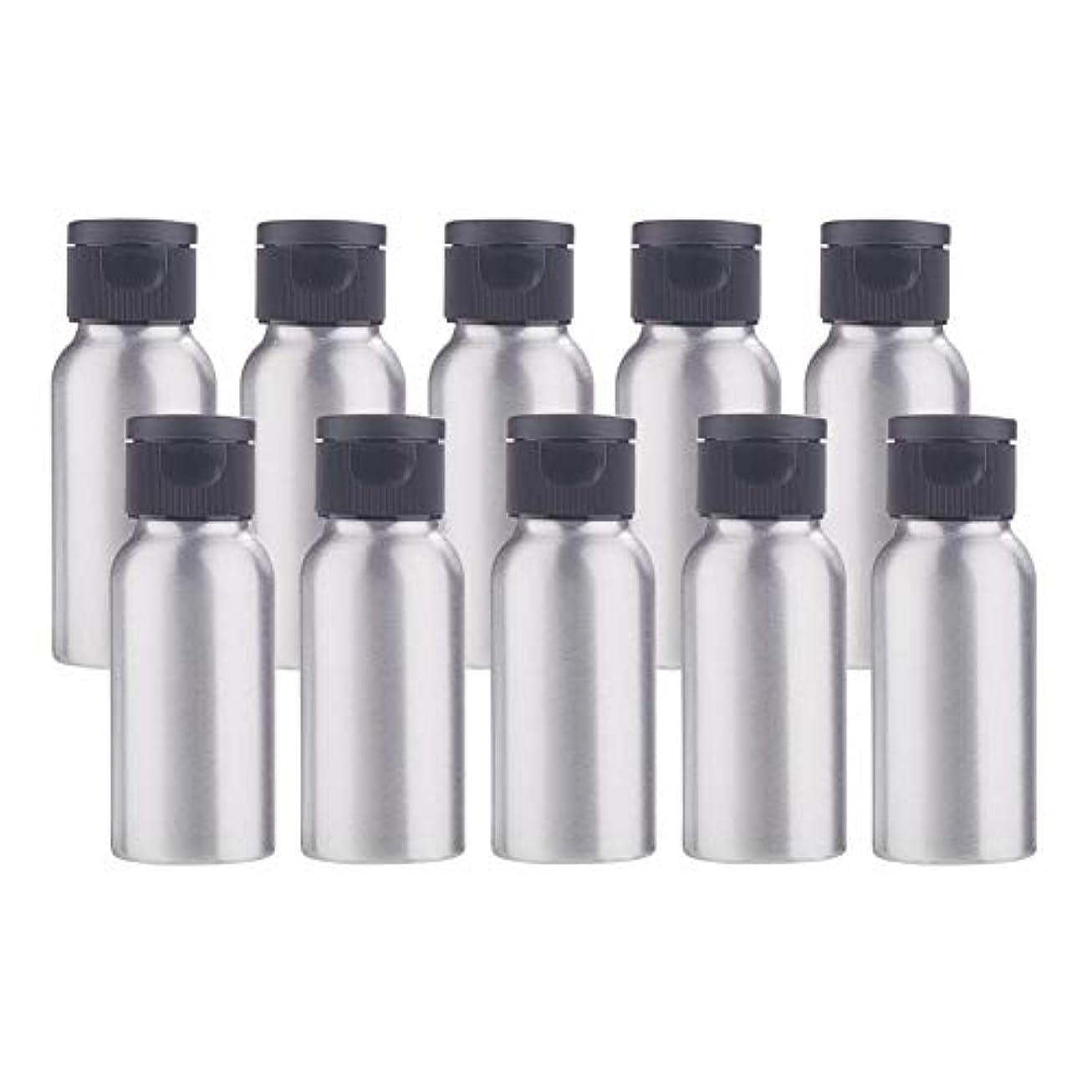 補償散らす力学BENECREAT 10個セット50mlアルミボトル フリップカバー空瓶 防錆 遮光 軽量 化粧品 アロマ 小分け 詰め替え 黒いプラスチック蓋