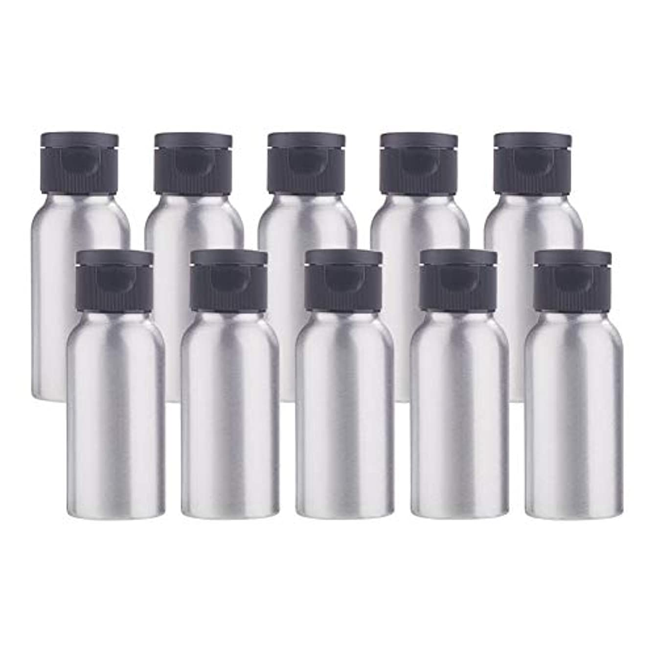 飼いならす別々に却下するBENECREAT 10個セット50mlアルミボトル フリップカバー空瓶 防錆 遮光 軽量 化粧品 アロマ 小分け 詰め替え 黒いプラスチック蓋