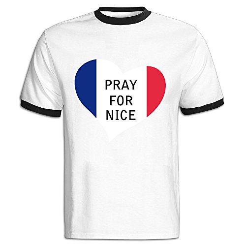 デレス メンズ ニース トラック Pray For Nice Tシャツ 運動シャツ 綿 おもしろ 簡単 Black