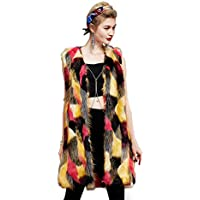 Women Fluffy Colorful Faux Fox Fur Coat Fashion Autumn Winter Warm Vest,A,XXXL
