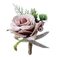 Blesiya コサージュ シルクフラワー 花 フラワー 飾り デコレーション ロマンチック 結婚式/パーティー バラ 3タイプ選べ - ダスティピンク