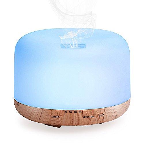 加湿器 卓上 7色LEDライト付き 超音波式 大容量 500ml 空焚き防止 静音 スチーム式 ナチュラル 連続加湿(約)10時間 MataAsu (リモコンなし)