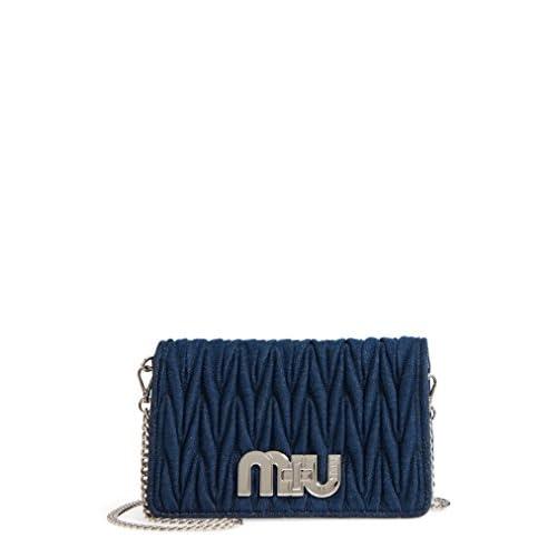 ミュウミュウ バッグ ショルダーバッグ Miu Miu Matelass Denim Crossbody Clutch Bleu [並行輸入品]
