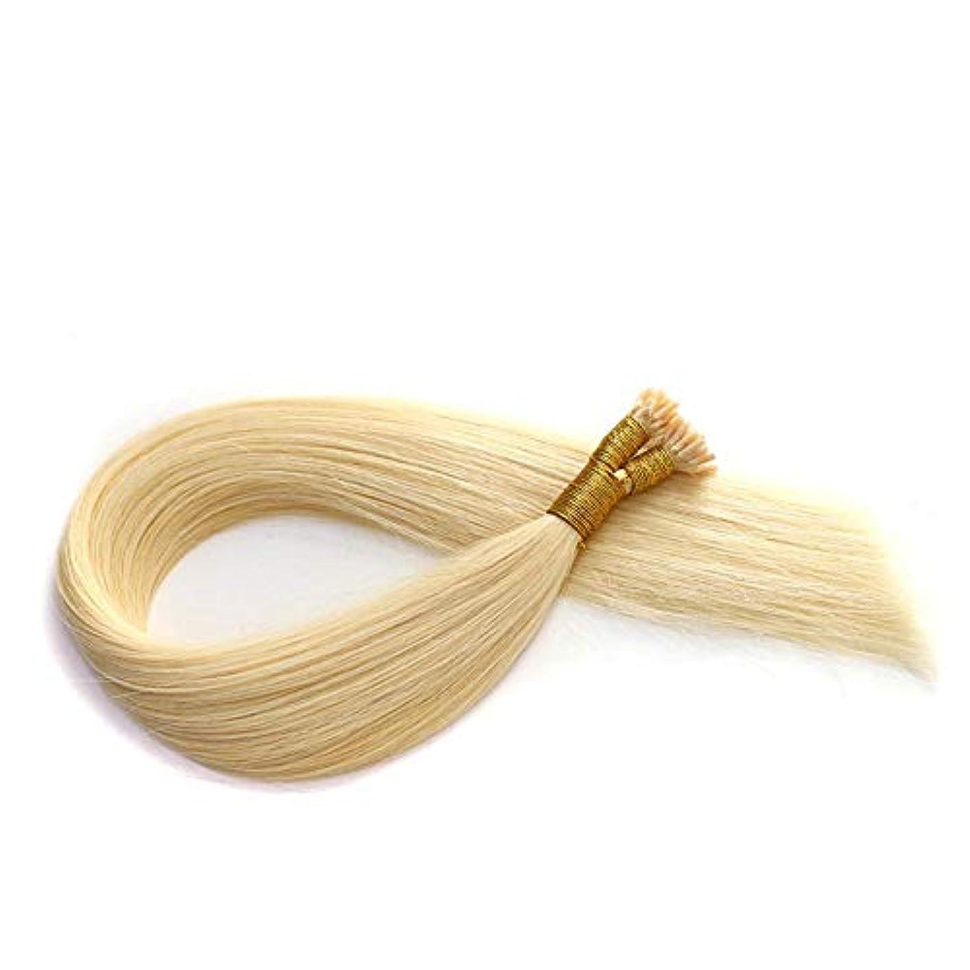 範囲公式換気するWASAIO ヘアエクステンションクリップのシームレスな髪型ブロンドナノリングリテラル太い人間レミーすべての長さの光 (色 : Blonde, サイズ : 12 inch)
