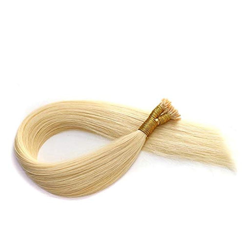 画面学校教育温度計WASAIO ヘアエクステンションクリップのシームレスな髪型ブロンドナノリングリテラル太い人間レミーすべての長さの光 (色 : Blonde, サイズ : 22 inch)
