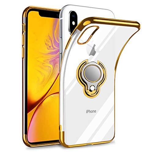iPhone XS ケース iPhone X ケース リング付き 透明 TPU マグネット式 車載ホルダー対応 全面保護 耐衝撃 軽量 薄型 携帯カバー スクラッチ防止 滑り防止 アイフォンX/XSケース 5.8インチ専用 一体型(iPhone X/XS ケース, ゴールド)