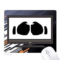 拳のジェスチャーのシルエット・パターン ノンスリップラバーマウスパッドはコンピュータゲームのオフィス