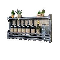 クリエイティブな鍛造鉄ハンギングワインラックヴィンテージパイプハンガー壁取り付けボトルラック壁装飾ガラスホルダー壁掛けカップホルダーレストランバーホームワイングラスシェルフ(60/80 * 11 * 43cm)