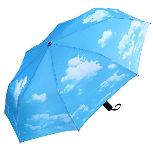 PLEMO 折り畳み傘 自動開閉折りたたみ傘 頑丈な8本骨 耐強風 梅雨対策 軽量 撥水性 収納ケース付 おしゃれ (ブルー)