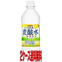 サンガリア 伊賀の天然水炭酸水レモン 500ml 【48本セット】