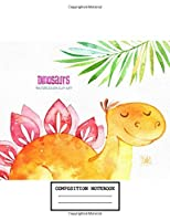 Composition Notebook: Dinosaur Cute Drawing Photo Art Soft Glossy Wide Ruled Journal with Ruled Lined Paper for Taking Notes Writing Workbook for Teens and Children Students School Kids Boys and Girls Great Gifts for Birthday Christmas Dinosaur Lovers