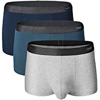 Separatec 3 Pack Men's Basic Bamboo Rayon Soft and Breathable Pouch Underwear Trunks