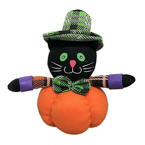 Opino ぬいぐるみオーナメント ハロウィーンデコレーション かわいいパンプキンぬいぐるみオーナメント 丈夫なパーティーボール ホームデコレーション キッズギフト 3種類 Black Cat ブラック