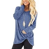 Camisunny Women's Long Sleeve Tunic Tops Shirt Blouse Round Neck Knot Side Twist Knit Soft Sweatshirt Plain Stylish
