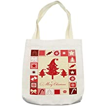 Ambesonne Christmas Tote Bag, Merry Christmas Quote with Figures Square Frames Trees Candy Star, Cloth Linen Reusable Bag for Shopping Groceries Books Beach Travel & More, Cream