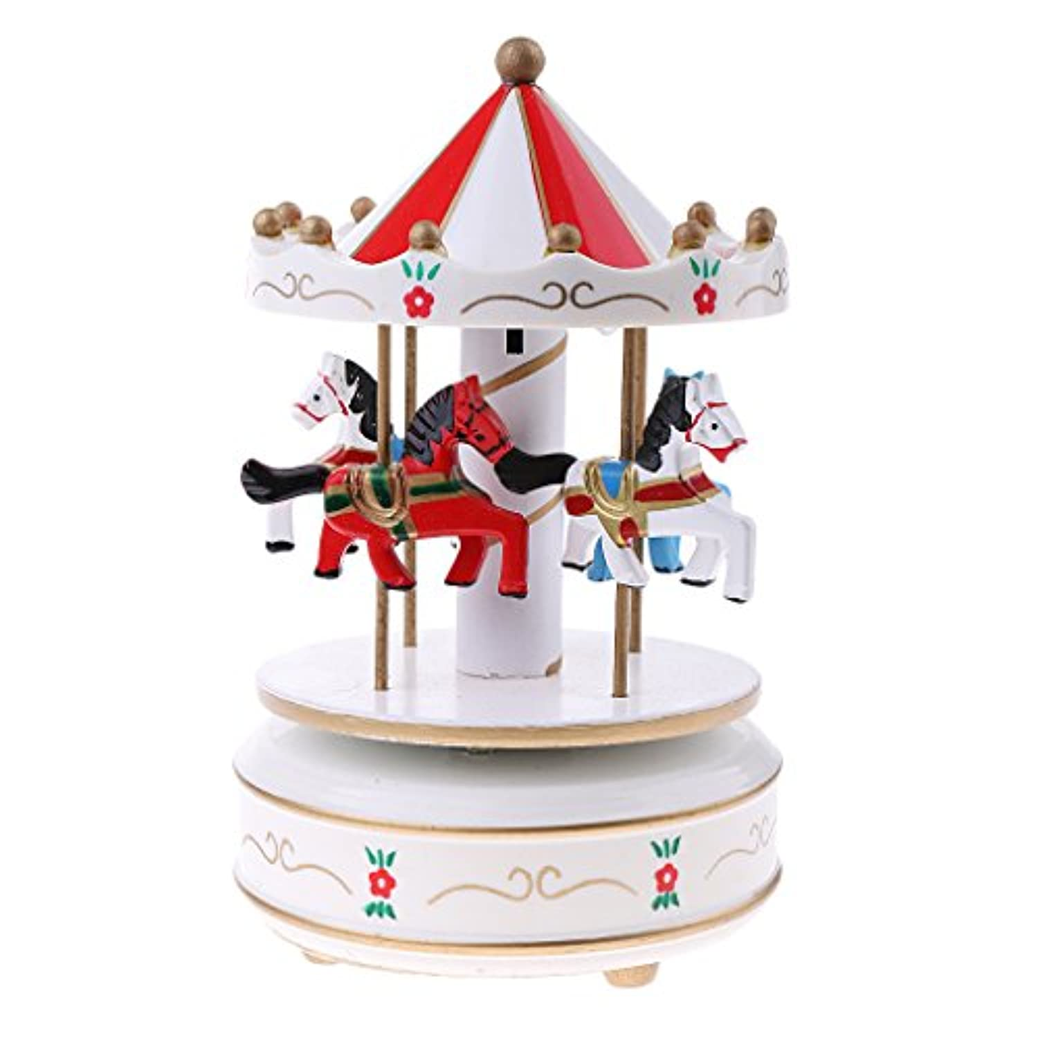 dovewill Carousel Rocking Horse音楽ボックスW LEDライトfor Kids子供ベッドルームの装飾 as described ホワイト c165dc2fad0267e5ad99d0ec8b177c33