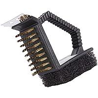 F Fityle 多機能 3 In 1 バーベキューブラシ クリーナー クリーニングツール バーベキューブラシツール 実用 頑丈