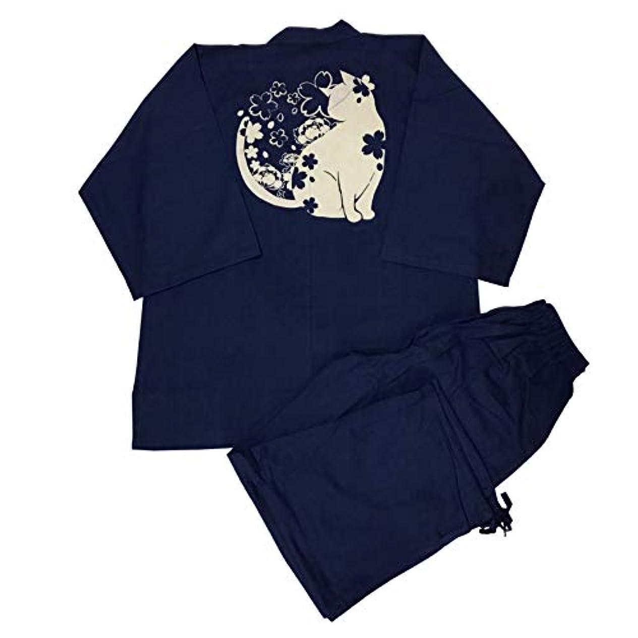 ギネス封建犬[江戸てん] 作務衣 柔らかい平織り 抜染オリジナル柄 綿100% メンズ