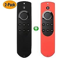 2パック用保護ケース 5.9'' Amazon Fire TV and Fire TV Stick リモコンカバー - Alexa Voice- Auswaur Anti Slip防水ショック防止シリコン保護用交換ケース-2パック -赤