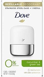 Dove Refillable Deodorant Starter Kit 0% Aluminum Cucumber & Green Tea Aluminum Free Deodorant 1.13 oz, Pa
