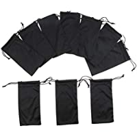 Prettyia 10 Pcs Microfiber Soft Cleaning Cloth Bag Pouch Case BLACK for Eyewear Eyeglass Sunglasses MP3 Player USB Cables,Gadgets, 7.1 x 3.5 inch