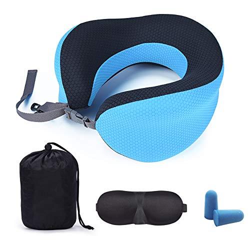 旅行枕の記憶綿はゆっくりと首のまくらを弾き返して、360度の首のU型枕、長距離の旅行は首を支えて、飛行機、列車、読書、事務室は昼寝して、人体の工学に合います。(ブルー)