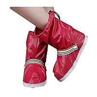 [Boyuanweiye] 防水靴カバー、靴カバー、厚底、完全防水、男性と女性のファッション滑り止めレインブーツ、レッドSコード 実用的 (Color : Red, Size : XL)