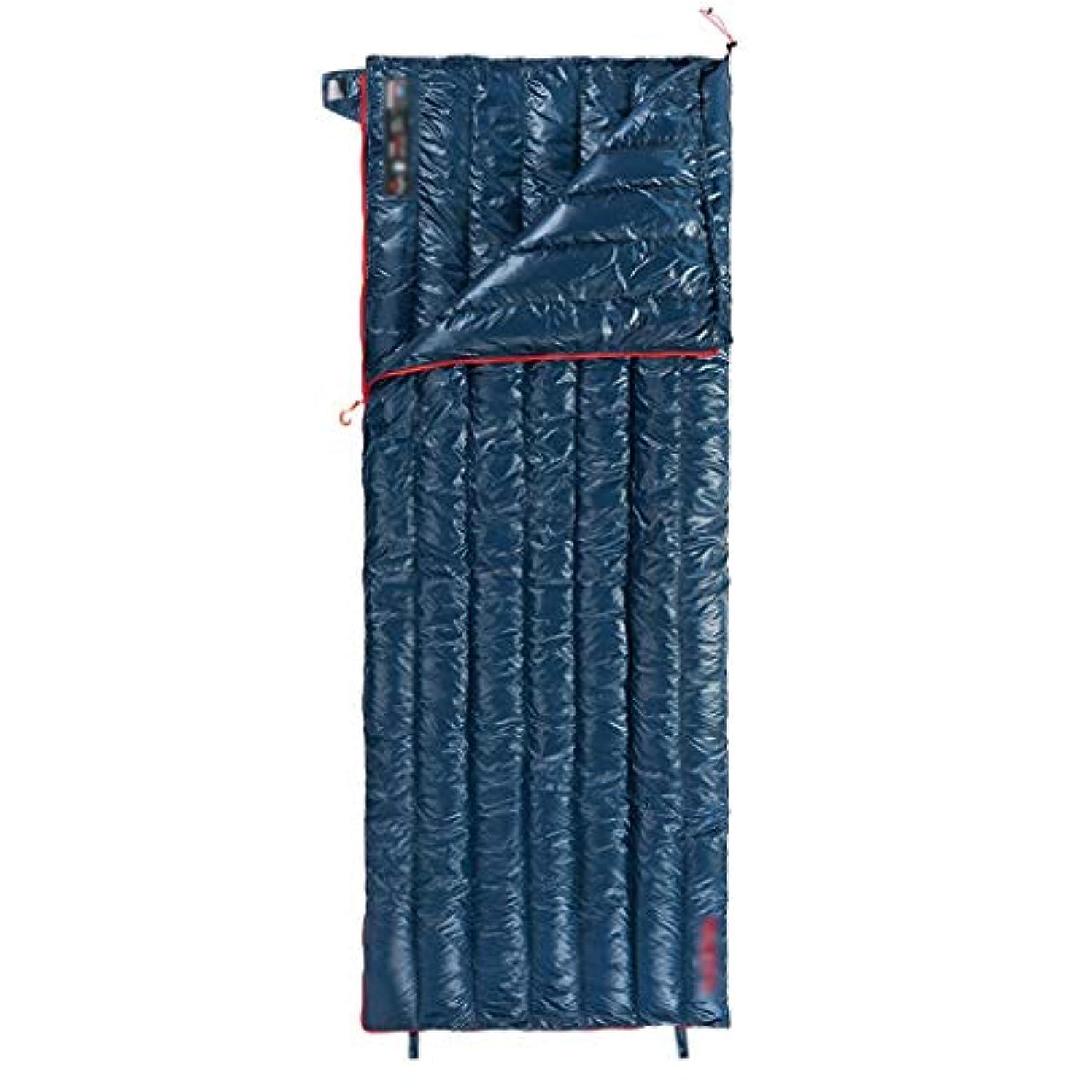 寝袋キャンプ用寝袋大人用寝袋ダウン寝袋屋外超軽量屋内用キャンプ寝袋キャンプ冬暖かい大人用寝袋はスプライシング可能(グースダウン95%含む) (Color : BLUE, Size : 200*80CM)