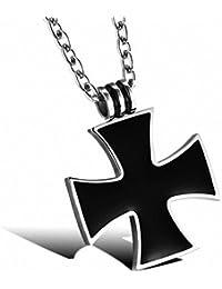 MFYS Jewelry ファッション メンズ アクセサリー ブラック アイアン クロス 十字 カラー:ブラック; シルバー(銀) ステンレス ネックレス (チェーン付ペンダントトップ) [ギフトボックスを提供]