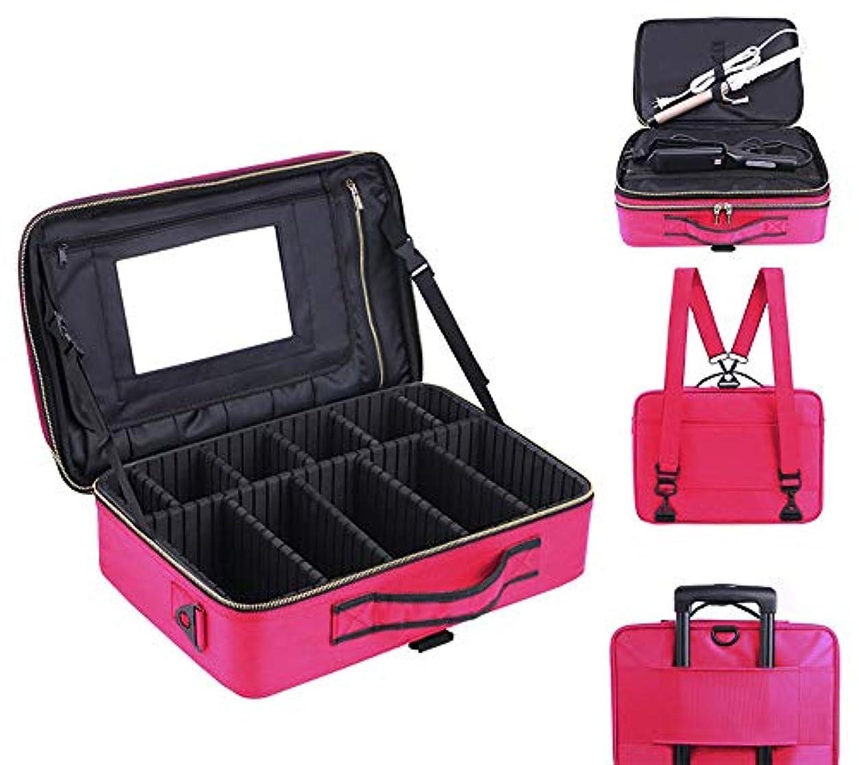 円形の床を掃除する米ドル防水取り外し可能な化粧ケースオックスフォード生地化粧品バッグオーガナイザー収納用男性女性(15.74 x 11.41 x 5.51in)-Pink