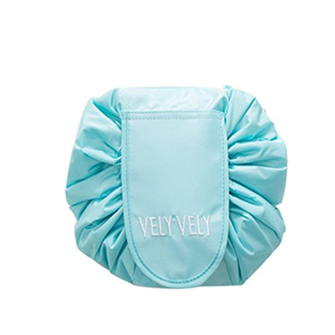 リサイクルするモンキーフェードSmartRICH 化粧品収納バッグ,折畳式 巾着型 収納携帯用 便利 防水的 旅行 容量大きい 可愛い 化粧バッグ 化粧ポーチ (青)