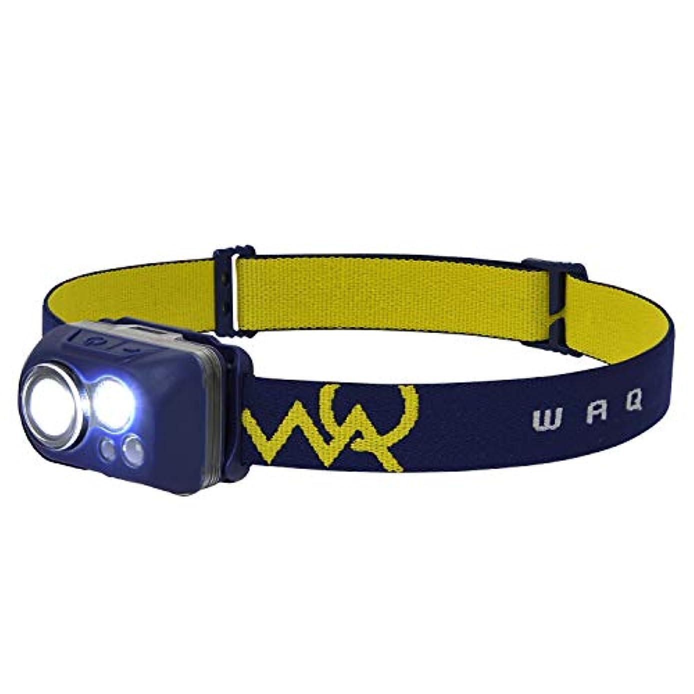 病弱座標結婚式WAQ LED ヘッドライト センサー 防水 (300ルーメン/実用点灯115時間/ワイド/乾電池/軽量) 防災 登山 釣り キャンプ ランニング ヘッドランプ WAQ-HL1