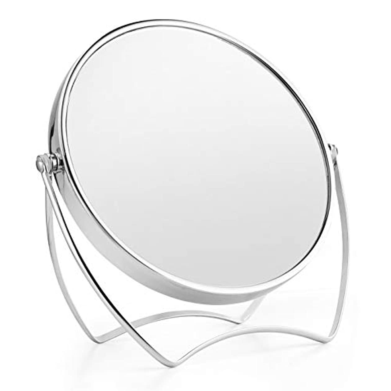 実り多い変成器年卓上ミラー 化粧鏡 1倍/5倍拡大鏡 メイクミラー 両面化粧鏡 ラウンドミラー 女優ミラー スタンドミラー 卓上鏡 360°回転ブラケット メタルフレームバニティミラー 寝室や浴室に適しています(15cm)