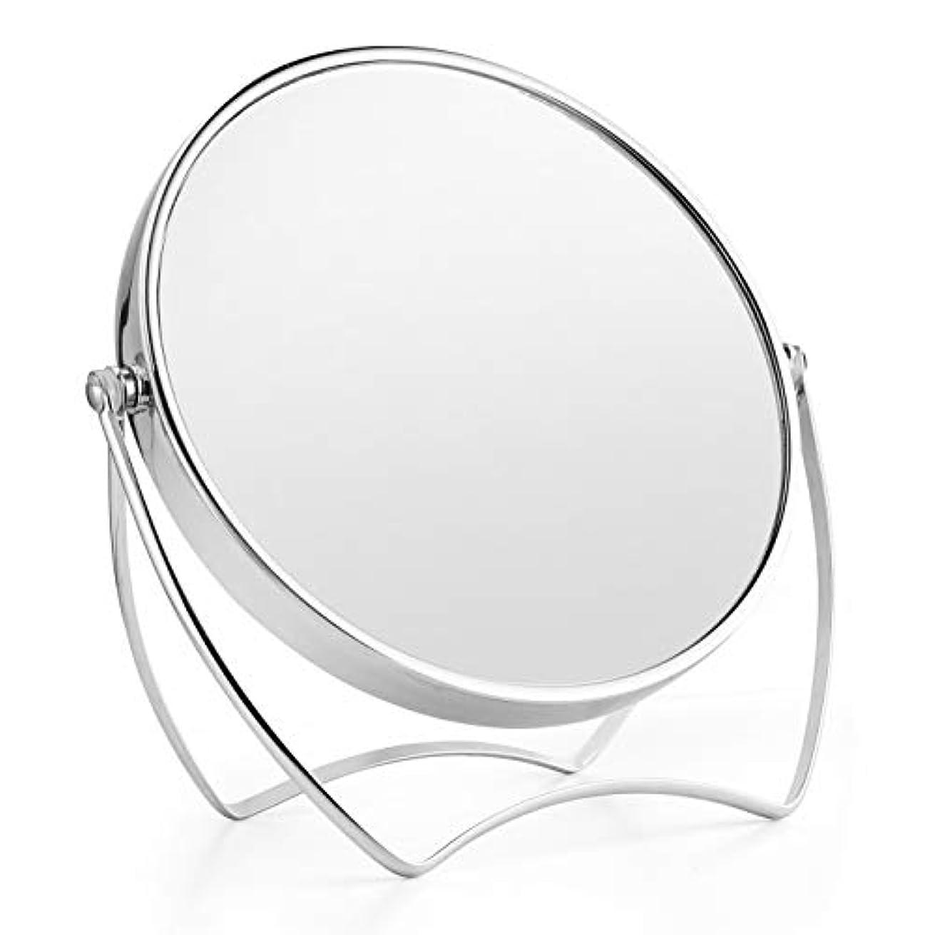 インタフェーステロ捕虜卓上ミラー 化粧鏡 1倍/5倍拡大鏡 メイクミラー 両面化粧鏡 ラウンドミラー 女優ミラー スタンドミラー 卓上鏡 360°回転ブラケット メタルフレームバニティミラー 寝室や浴室に適しています(15cm)