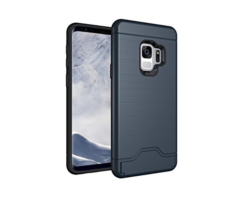 Samsung Galaxy s9 Case, Hica Slim Wallet Back Case Impact Resistant Hybrid Protective Shell Shockproof Hard PC And TPU Card Slot Holder With Back Stand For Samsung s9 2018 -Navy