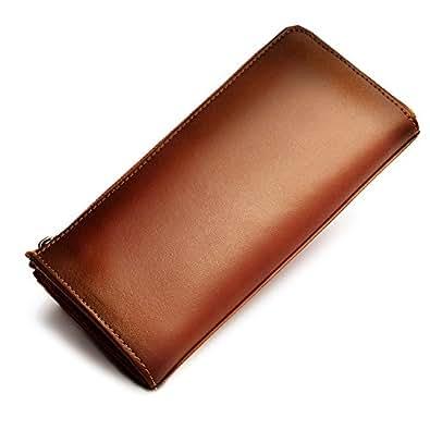 oliver 本革 財布 長財布 メンズ レディース 熟練の革職人が作る 手染め プレゼント ギフト ボックス付き (改良版) (ブラウン)