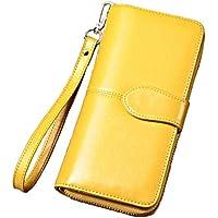 (スプリングスワロー) SpSw ラウンドファスナー 長財布 シンプル 多機能 大容量(イエロー、ブラウン、ワイン、ブラック、ピンク)