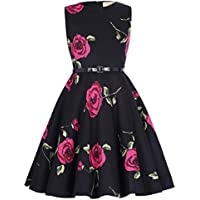 Kate Kasin Girls Sleeveless Round Neck Vintage Cotton Floral Pattern Dress KK250
