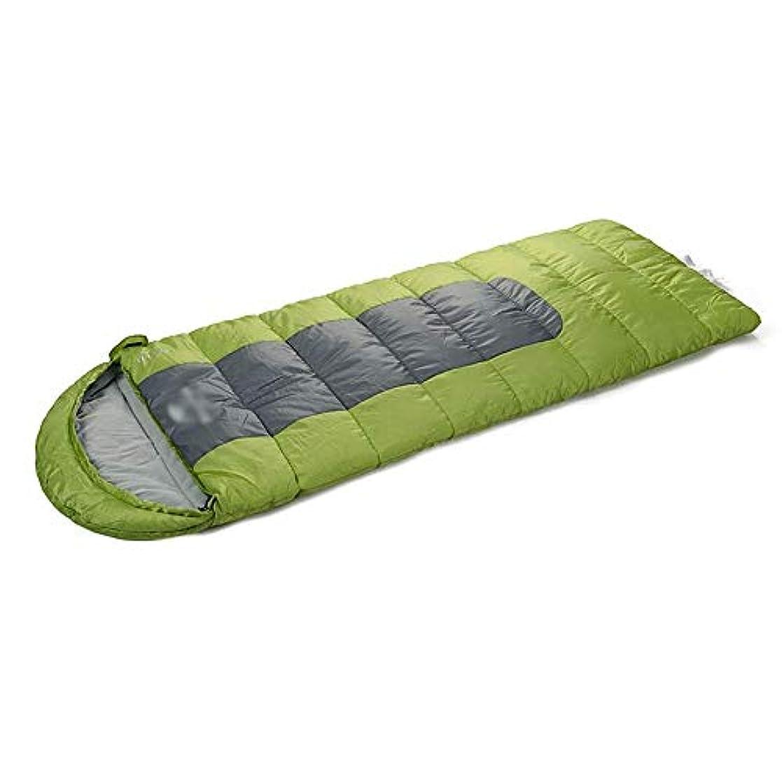 それに応じて正当な慣性アウトドアフード付き寝袋3-4シーズンキャンプ用大人用 暖かい封筒寝袋コットンパッド青(色:緑)