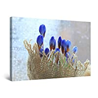Startonight Canvas Wall Art Blue Tender Spring Flowers, Framed Artwork 80 x 120 cm Ready to Hang
