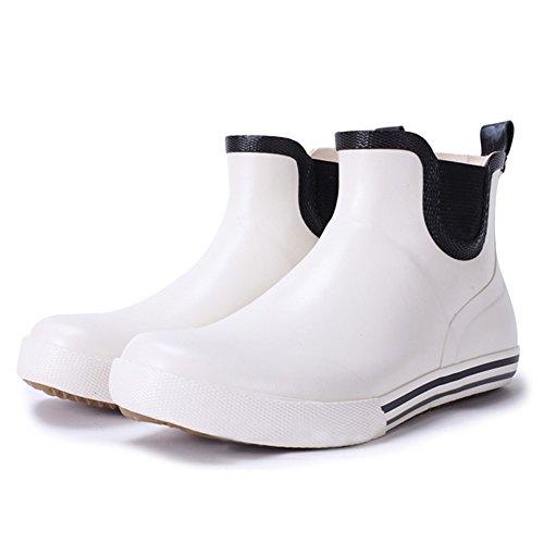 サイドゴアレインブーツ メンズ ショート レインシューズ  かっこいい レインブーツ ブラック ホワイト (41/26cm, ホワイト)