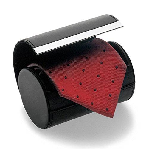 ネクタイ収納ケース Sisters ネクタイボックス(円筒型)マグネットタイプ 開閉式 ネクタイケース 収納/出張/旅行に/黒