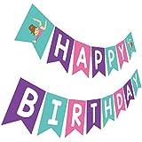 Gymnastics Birthday Banner, Pink Purple Teal Bday Sign, Gymnast Birthday Party Bunting Decoration
