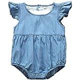 Milkiwai ベビー 女の子 ガールズ キッズ ロンパース カバーオール デニム コットン 綿 無地 春夏 size 90 (ブルー)