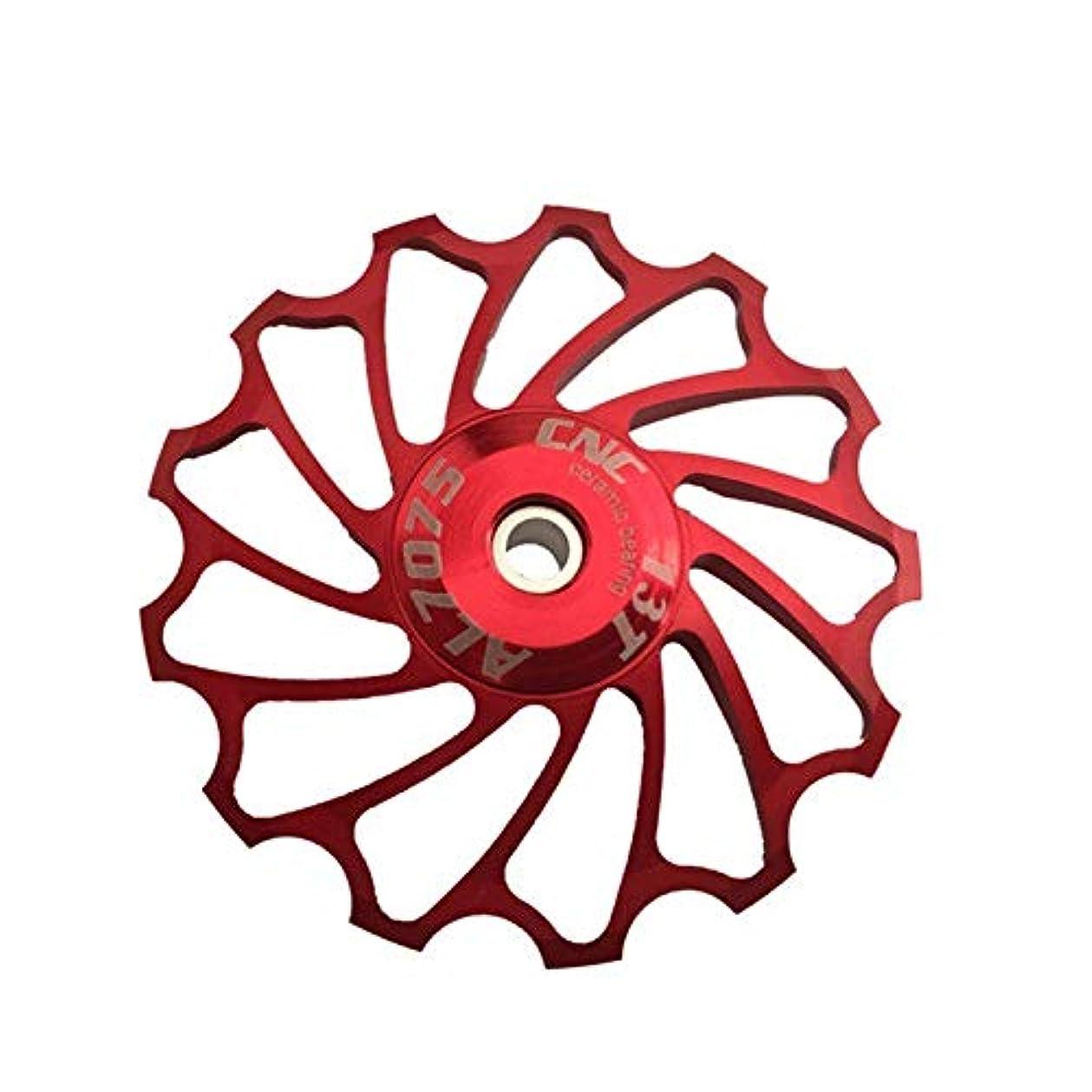 安全ライオン家事Propenary - Cycling bike ceramics Jockey Wheel Rear Derailleur Pulley 13T 7075 Aluminum alloy bicycle guide pulley bearing bicycle parts [ Red ]